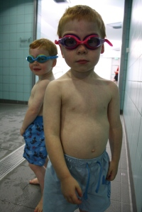 Alec and Kit swimming
